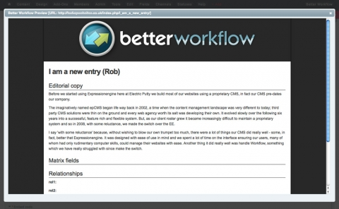 The Better Workflow preview modal