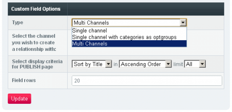Categories (one level) or Channels as optgroups