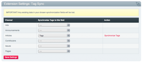 Tag Sync settings (EE2)