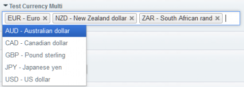 A multiple-currency field showing only common currencies with a search-as-you-type filter