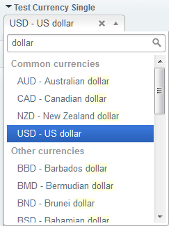 A single-currency field showing all currencies with a search-as-you-type filter