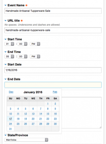 Publish screen showing Event Helper Date and Time Select fields