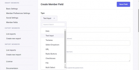 Member fields detail page