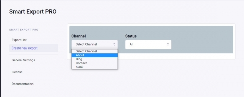 Select channel in export form