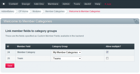 Linking custom member fields to category groups