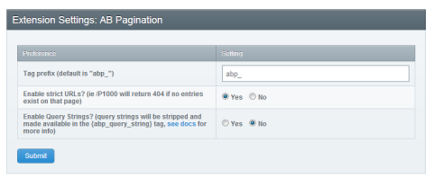 AB Pagination settings