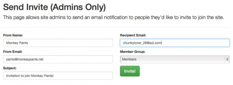 Create an invite form to send emails inviting people to join your site