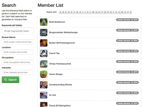 Create flexible and beautiful member list pages