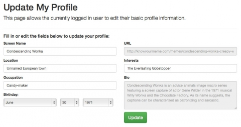 Create flexible and beautiful profile update pages