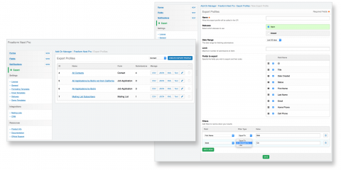 Quickly export submission data or create pre-defined Export Profile reports for your clients to run.