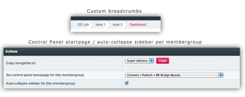 Breadcrumbs based on the custom menu / set startpage / auto-collapse sidebar