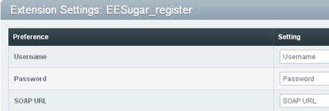 EEsugar Registration integration