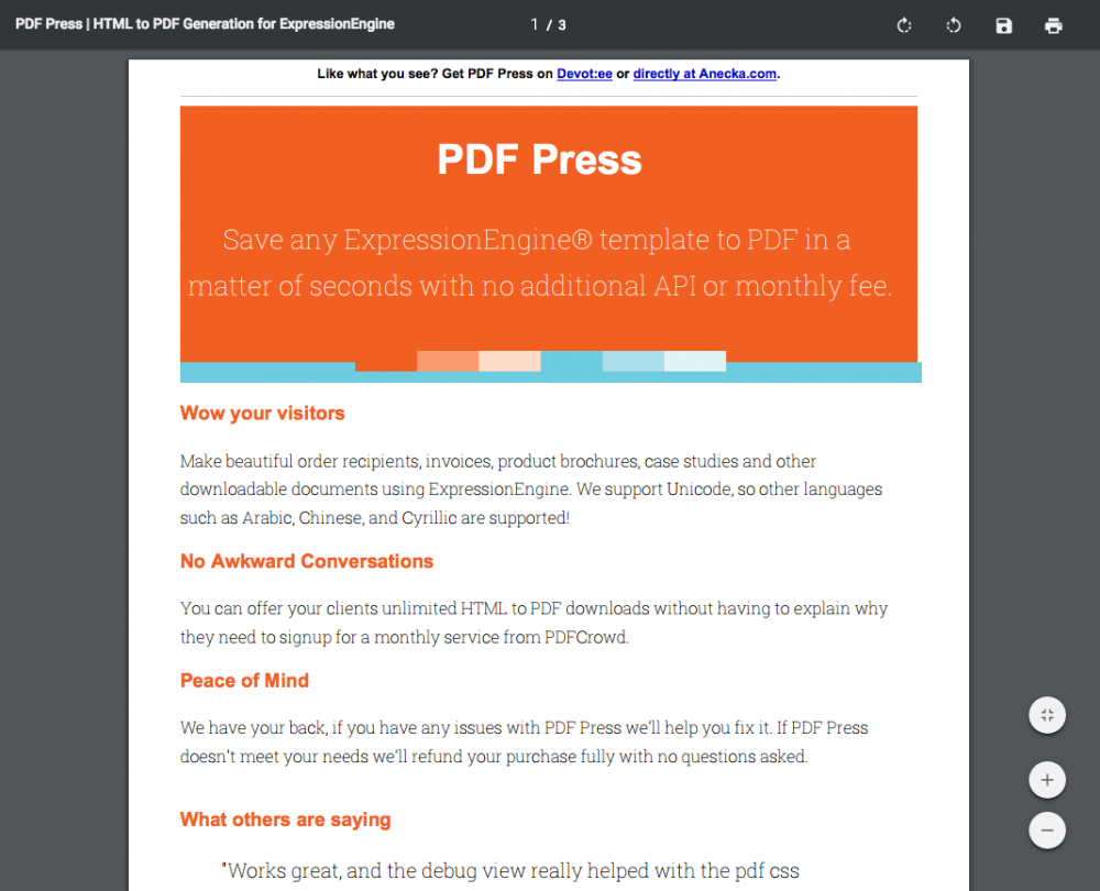 PDF Press - devot:ee - Devoted to ExpressionEngine